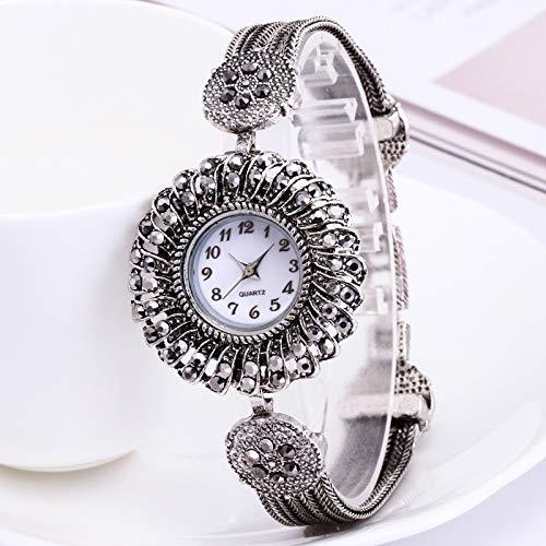 MSTOT 925 sterling zilver horloge met diamant dameshorloge studentenhorloge met diamant zwarte zirkoon antiek zilver horloge