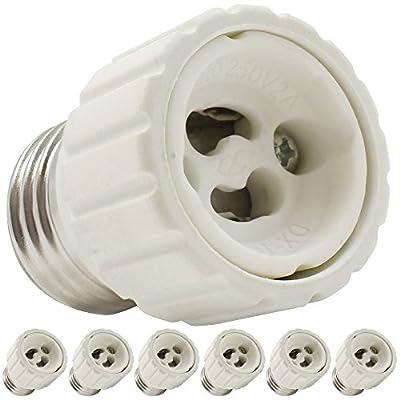 TORCHSTAR 6-Pack E26/E27 to GU10 Adapter, E26/27 Edison Screw to GU10 Bayonet Base Socket Adapter Converter, Fits LED/Halogen/CFL Light Bulbs, Heat-resistant, Anti-burning, No Fire Hazard