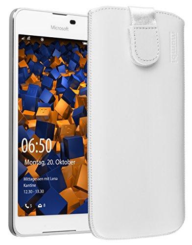 mumbi Echt Ledertasche kompatibel mit Microsoft Lumia 650 Hülle Leder Tasche Hülle Wallet, Weiss