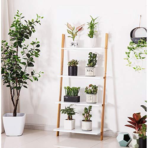 Bloemstandaard Bamboe Ladder Plant, Boekenkast Met 4-Tiers, Stand Rack, Wandplank, Opslagrek Natuurlijke Bamboe Display Plank (W:43/53cm)