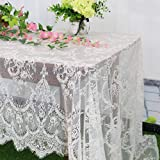 Vintage-Lace-Tablecloth 60x120-Inch Small Lace Rectangle Tablecloth Lace Boho Print Tablecloth Ivory Lace Overlay Tablecloth Lace Table Runner Overlay