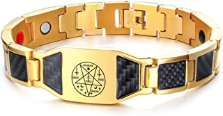 Cool Leviathan Satanic Cross Sybmol Lucifer Jewelry Carbon Fiber 4 in 1 Magnetic Therapy Bracelet