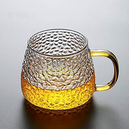 ABCCS Vaso de Cerveza,Cerveza Vidrio,Tazas de Vidrio Transparentes,Tazas de café,Jarra de Cerveza de Vidrio con asa,380 ml,Paquete de 2 Tazas de Cerveza,Taza de té de Vidrio Resistente al Calor