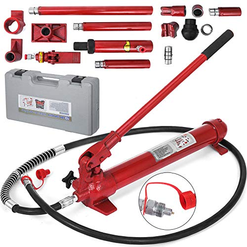Mophorn 10 Ton Porta Power Kit 2M Hydraulic Car Jack Ram 78.7 inch Hose Length Autobody Frame Repair Power Tools for Loadhandler Truck Bed Unloader Farm and Hydraulic Equipment Construction