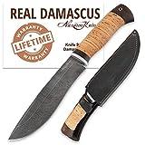Hunting Knife - Damascus Knife - Birchbark Handle - SIBERIAN - Fixed Blade Knife