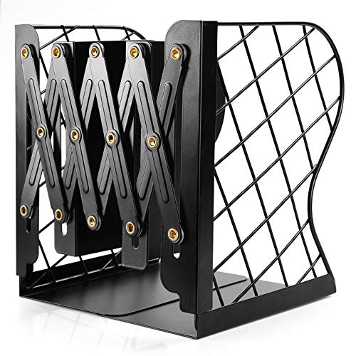Adjustable Bookend Mesh Heavy Duty Book Ends Metal bookends for Heavy Books for Desk Shelf Office Extends up to 19 inches Black