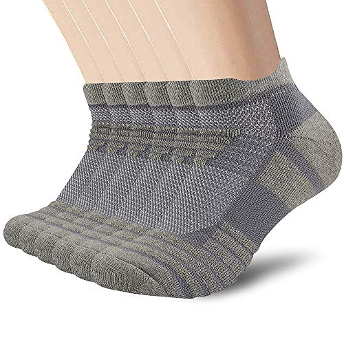 SUNWIND Sneaker Socken Herren 6 Paar Gepolsterte Sportsocken Baumwolle Kurze Atmungsaktiv Hohe Leistung Anti-Rutsch Laufsocken (Grau, 43-46)