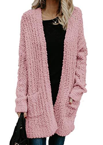 HZSONNE Womens' Boho Fuzzy Knitted Cardigan Chunky Sweater Sherpa Fleece Pointelle Full Sleeve Blouse (PinkPurple, X-Large)