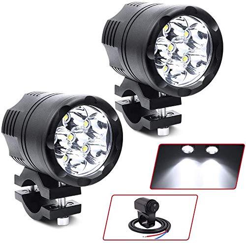 Biqing Universal 60 W Motorrad Scheinwerfer LED-Scheinwerfer mit wasserdichtem Schalter, 6 LEDs Motorrad Fahren Nebelscheinwerfer Zusatzlampe Tagfahrlicht 12 V 24 V für Trikes Quads Fahrrad Auto LKW