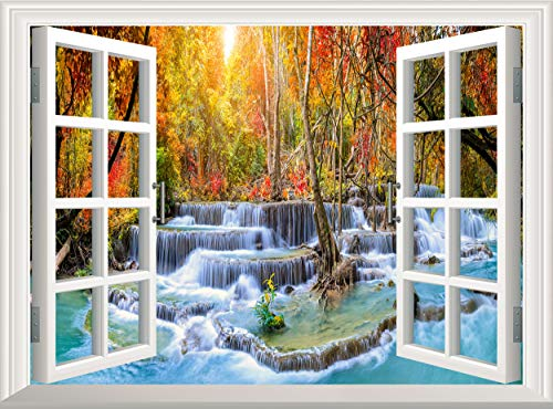 Waterfall 3D Window Wall Sticker Removable Wall Decal Poster Wall Mural Wallpaper Vinyl Decor (60x45 cm)