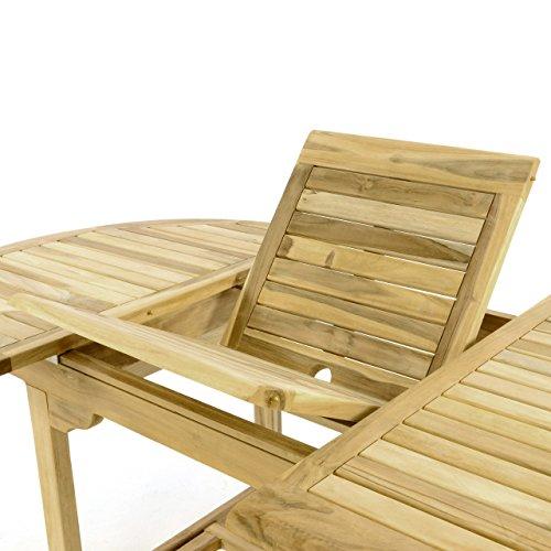 Divero Gartenmöbel-Set Terrassenmöbel-Garnitur Sitzgruppe – Esstisch 120/170 cm ausziehbar & 4 x Klappstuhl mit Armlehne – Teakholz massiv Natur Bild 2*