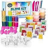 70-teiliges DIY Schleim Set – Schleim selbst Machen – 12x Schleim + 12x Crystal Clay – ungiftiger spielschleim für Kinder - Glitzer & Perlen für kreative Kunstwerke – Aufbewahrungsbox für Slime Kit