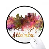Atlanta America City Watercolor - Alfombrillas antideslizantes redondas con bordes negros