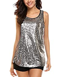 Silver Sleeveless Shimmer Camisole Vest Sequin Tank Top