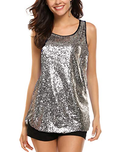 Zeagoo Women's Sleeveless Sparkle Shimmer Camisole Vest Glitter Sequin Tank Tops Silver