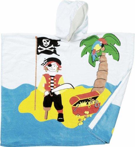 Playshoes Jungen Bademantel Frottee Poncho Pirat, Gr. One Size (Herstellergröße: S), Mehrfarbig (Pirat)