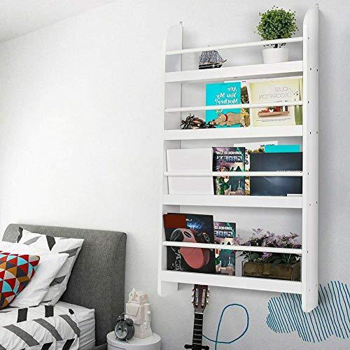 Gotop Libreria da parete per bambini a 4 ripiani in legno per libri e libri, in MDF+metallo bianco