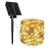 *BLOOMWIN Garlandes Llums Exterior Solar 22M 200 LED Lluminoses Cadena de Llums 8 Maneres Panell Solar Impermeable Il·luminació Decoració per a Exterior, Interior, Jardins, Casas, Noces, Festa, Nadal