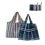 Autbye 大容量折りたたみエコバッグ おしゃれメッセンジャーバッグ 買い物バッグ ポケッタブルバッグ 雑貨レジバッグ 男女通用ショッピングバッグ 2個セット