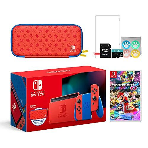 Nintendo 2021 Switch Mario Rojo & Blue Edición Limitada con Mario Iconography funda de transporte y protector de pantalla con Mario Kart 8 Deluxe y Mytrix Accesorios