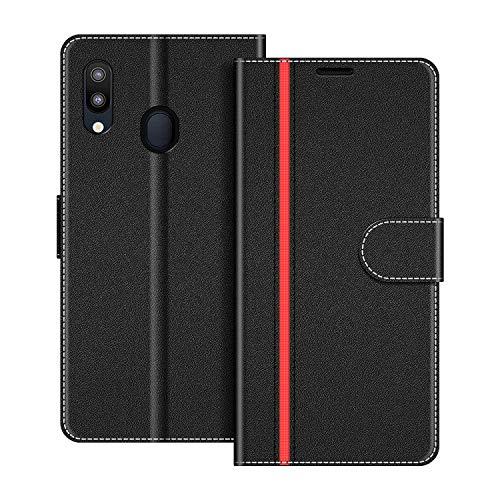 COODIO Handyhülle für Samsung Galaxy M20 Handy Hülle, Samsung Galaxy M20 Hülle Leder Handytasche für Samsung Galaxy M20 Klapphülle Tasche, Schwarz/Rot