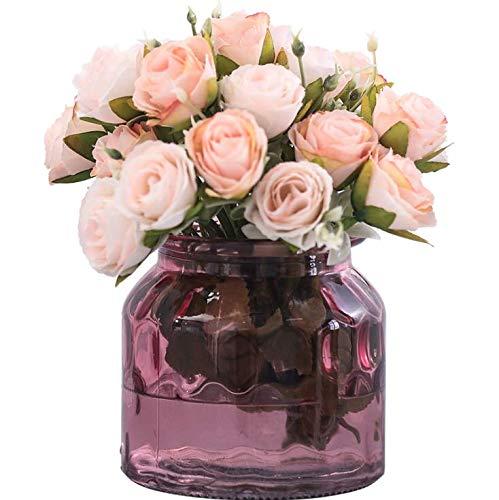 LLSTRIVE Kunstroos met vaas, kunstbloem, nepbloem, tafelbloem, huismeubels, verjaardagscadeau, roze