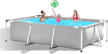 hmercy Above Ground Swimming Pool - 10ft X 6.8ft Outdoor Rectangular Metal Frame Pool for Kids and Adults, Family Swimming Po