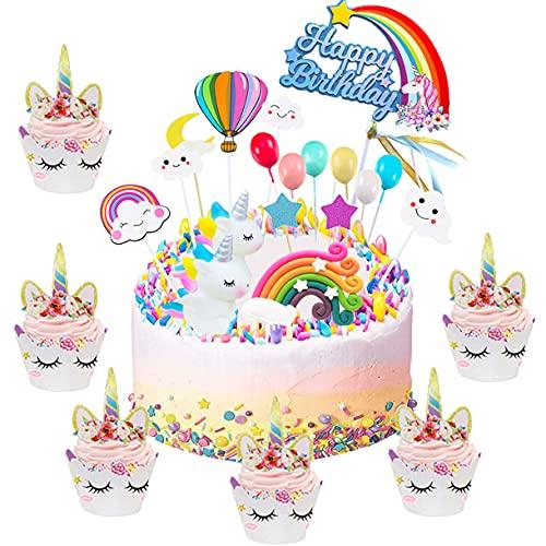 Unicornio Decoración de Tartas,Topper Unicornio Tarta,Unicorn Cupcake Toppers,Rainbow Cake Topper,Tarta Unicornio Accesorios para Niñas Cumpleaños Party Decor
