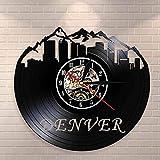 Reloj De Pared Reloj De Pared del Horizonte De Denver Reloj De Pared con Disco De Vinilo del Estado De Colorado Vivir En Denver City View Sightseeing Regalo De Inauguración De La Casa 30X30Cm