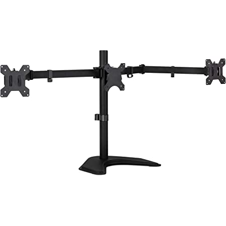 Mount-It! Triple Monitor Stand   3 Monitor Stand Fits 19 20 21 22 23 24 Inch Computer Screens   Free Standing Base   Three Heavy Duty Full Motion Adjustable Arms   VESA Compatible