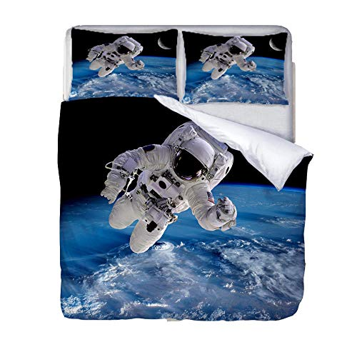 LiYiAT Double Duvet Covers Set 3D Printed Ultra Soft Hypoallergenic Easy Care Bedding Quilt Cover Astronaut Microfibre 3 Pieces 2 Pillowcases for Double Bed with Zipper Closure(200X200cm)