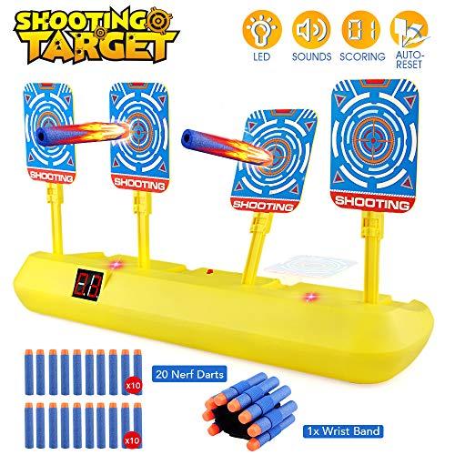 Blasland Digitale Zielscheibe für Nerf Pistole, Kinderspielzeug Auto Reset mit Licht Sound Effekte & 20 Darts für Nerf Gun N-Strike Elite/Mega/Rival Series Indoor Mädchen Jungen Spiele Geschenk