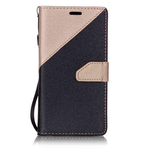 jbTec® Flip Case Handy-Hülle passend für Samsung Galaxy J3 2016 DUOS/SM-J320 - Book ZWEIFARBIG - Handy-Tasche Schutz-Hülle Cover Handyhülle Ständer Bookstyle Booklet, Farbe:Gold
