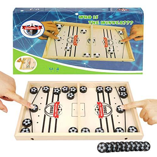 Colmanda Brettspiel Hockey, Fast Sling Puck Game, Katapult Brettspiel, Tisch Hockey Brettspiel Katapult Schach, Portable Board Games aus Holz Brettspiel Schnell, Hockey Game für Kinder & Familie