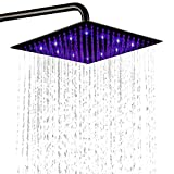 "Product Image of the Led Shower Head - Rainfall 3 Color Changing 12"" Fixed Showerheads- Ultra-thin Anti-Clog 304 Stainless Steel Shower Spray Matte Black"