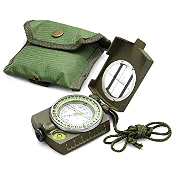 Eyeskey Multifunctional Military Lensatic Tactical Compass   Impact Resistant and Waterproof  Metal Sighting Navigation Compasses for Hiking Camping Motoring Boating Boy Scout  Green