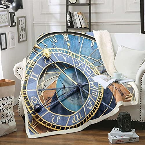 Homemissing Reloj Sherpa manta Praga reloj astronómico manta de forro polar Praga República Checa manta de felpa para niños y niñas y niños ligero retro para sofá cama, individual 128 x 152 cm