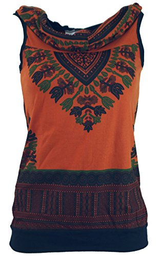 Guru-Shop Kapuzen Dashiki Tank Top, Goa Festivaltop, Damen, Rostorange, Baumwolle, Size:S/M (34/36), Tops & T-Shirts Alternative Bekleidung