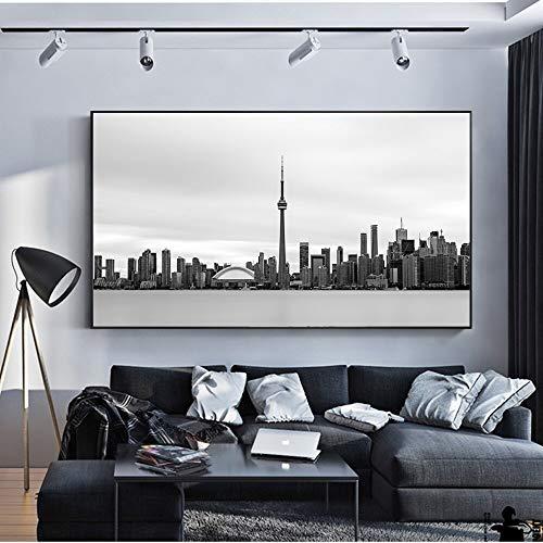 ganlanshu Schwarzweiss-Skylineplakat und druckt Retro realistisches Toronto-Landschaftswandkunst-Leinwandwohnzimmer,Rahmenlose Malerei,75x150cm