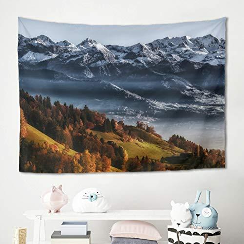 Gamoii Wildnis Montañas y árboles para colgar en la pared, para picnic, playa, yoga, de alta calidad, color blanco, 150 x 130 cm