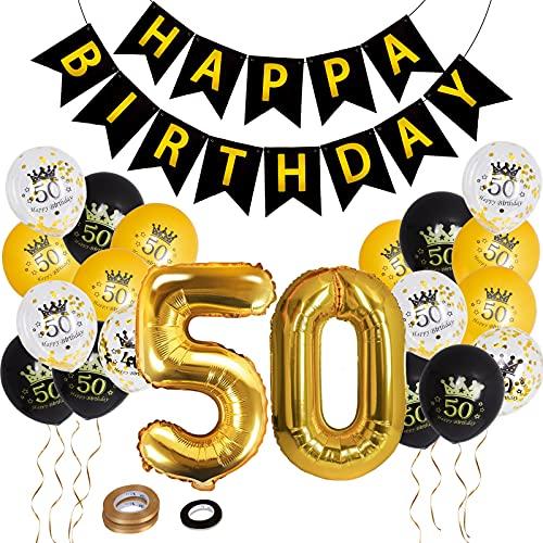 Herefun 50 Años Globos Cumpleaños, 50 Años Números Globos de Papel de Aluminio, Globos de Confeti Globos de Latex Cumpleaños, Kit de Globos, 50 Cumpleaños Decoración de Fiesta para Hombre Mujer