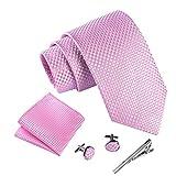 Massi Morino ® Herren Krawatte Set mit umfangreicher Geschenkbox rosa rose karriert rosafarben karomuster hellrosa rosakrawatte...