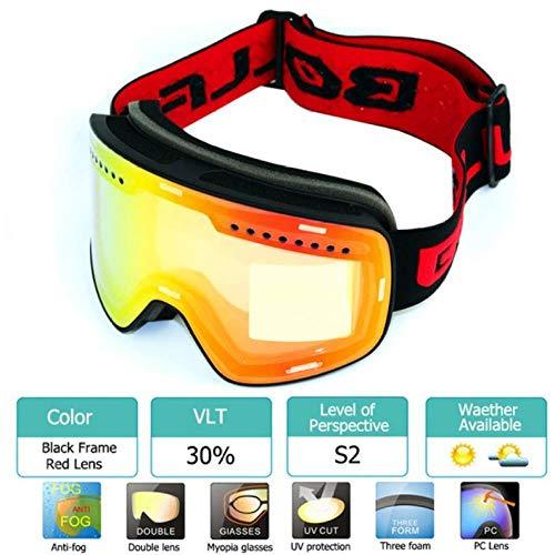 AWLQ Skibril skibril met gepolariseerde lens skiën anti-condens Uv400 snowboardbril heren dames skibril N brillenkoker