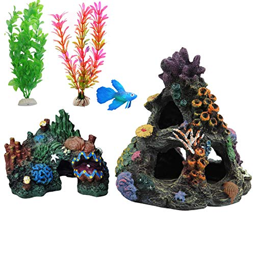 Hamiledyi 4PCS Aquarium Coral Decoration Artificial Resin Small Coral Reef Extra Lifelike Plastic Plant for Betta Sleep Rest Hide Play Breed