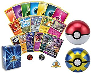 50 Pokemon Card Lot - 1 GX Ultra Rare! Rares - Holo Rare - Energy - 1 Coin! Exclusive Pokeball Tin! Includes Golden Groundhog Deck Box!