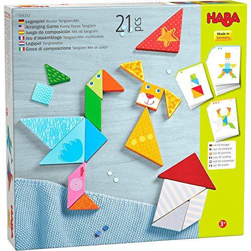 HABA 305777 - Legespiel Bunter Tangram-Mix, Legespiel ab 3 Jahren, made in Germany