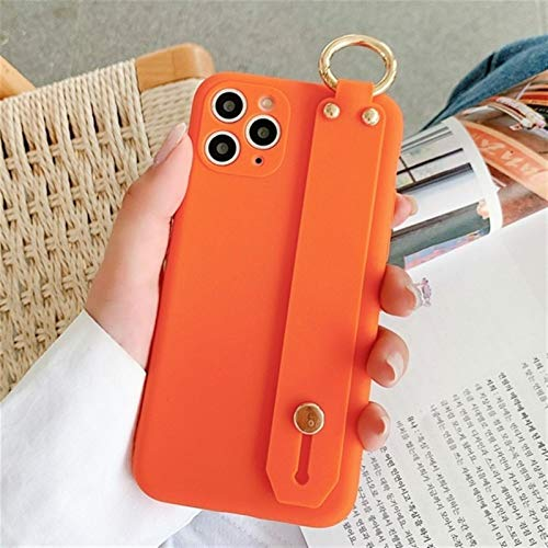 YLFC Funda Suave De TPU para Teléfono Móvil, Funda con Correa para La Muñeca para iPhone 11 Pro MAX XS MAX XR 7 8 Plus SE 2020 (Color : Orange, Size : For iPhone 11 Pro)