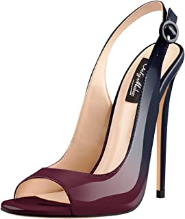 Women's Peep Toe Heeled Sandals Slingback High Heel Stiletto Pumps for Party Dress Working