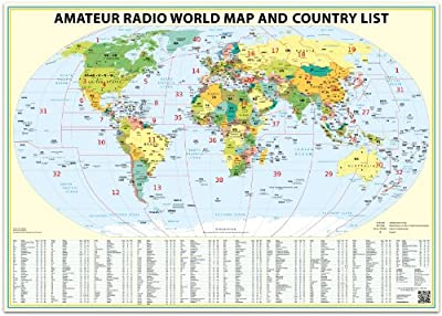 24x36 Ham Radio World Map 2021 Edition, with the DXCC country list.