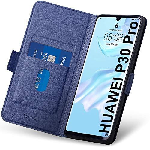 Hülle Huawei P30 Pro, Handyhülle P30 Pro Klapphülle, Huawei P30 Pro Hülle mit Kartenfach, Schutzhülle Huawei P30 Pro, P30 Pro Tasche, Leder Etui Folio, P30 Pro New Edition Flip Phone Cover Hülle. Blau